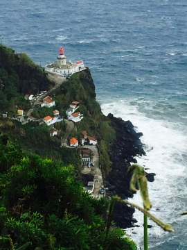 lighthouse on the northern coast of san miguel island, azores, portugal